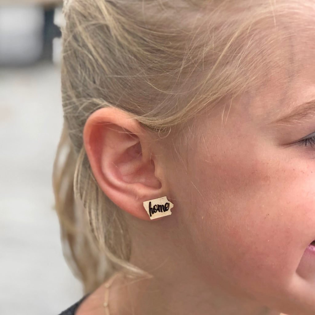 Iowa - Home Studs Earrings - Kids & Adult