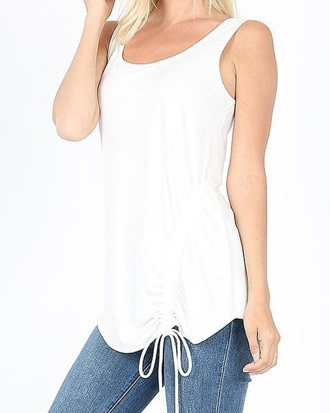 Ivory Ruched Tank For Women