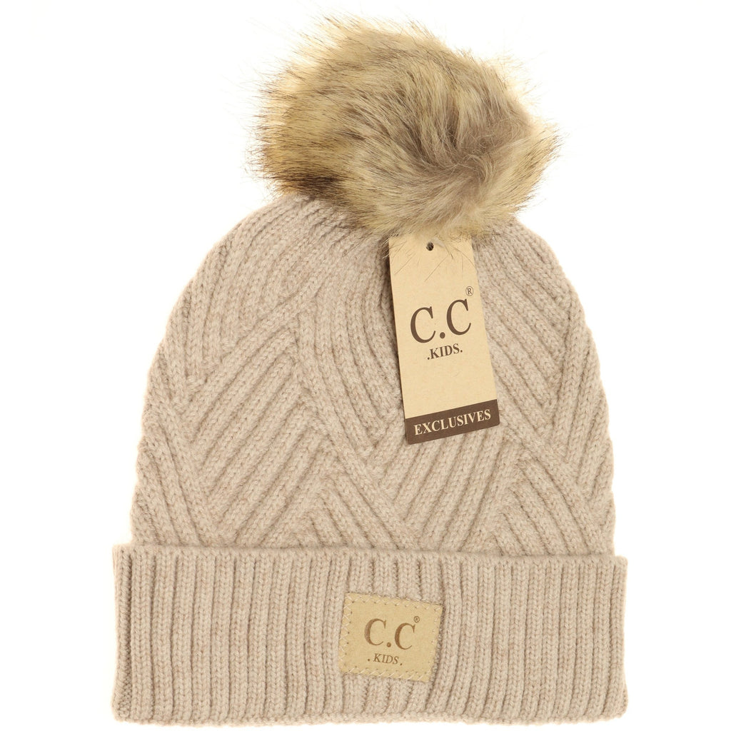 C.C. Heathered Beige Fur Pom Beanie For Girls
