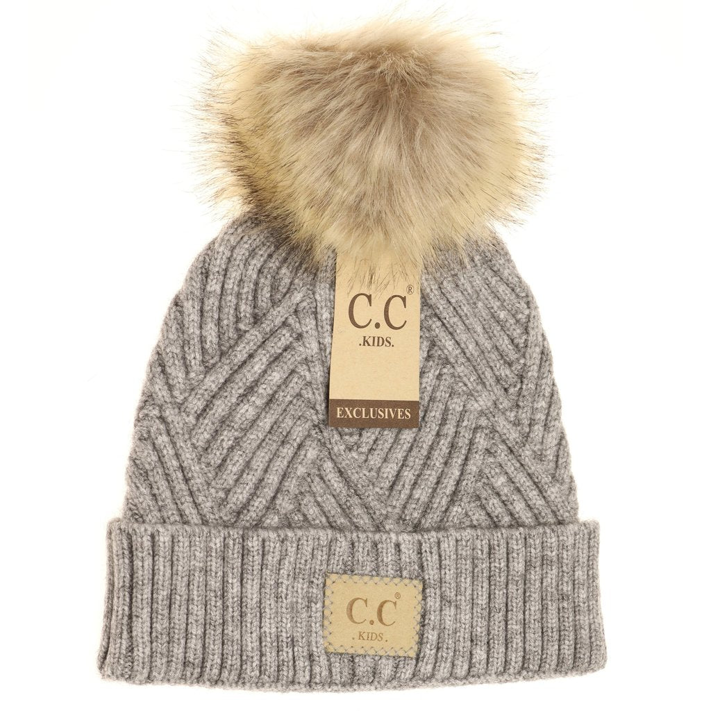 Heathered Gray CC Fur Pom Beanie For Girls