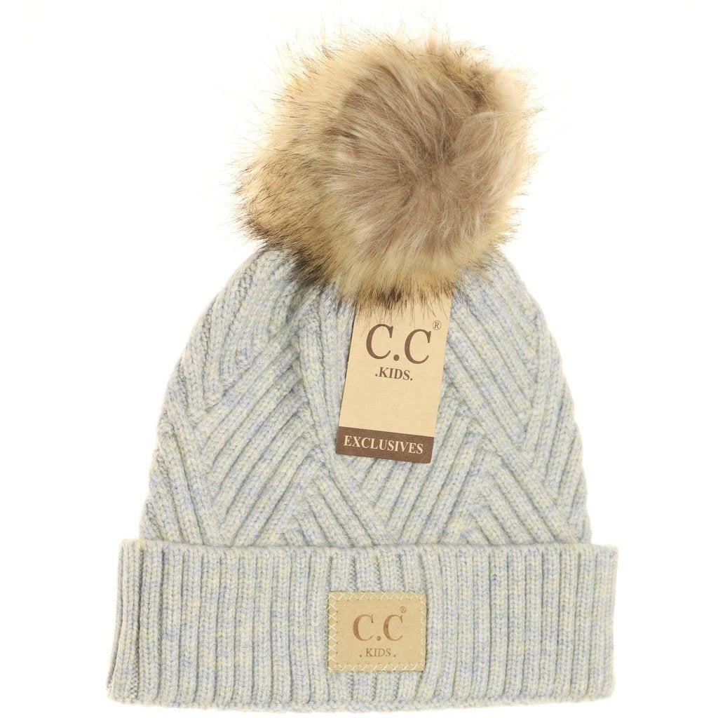 C.C. Heathered Blue Mix Fur Pom Beanie For Girls