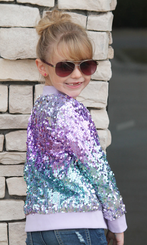 Lavender Sequin Jacket For Girls