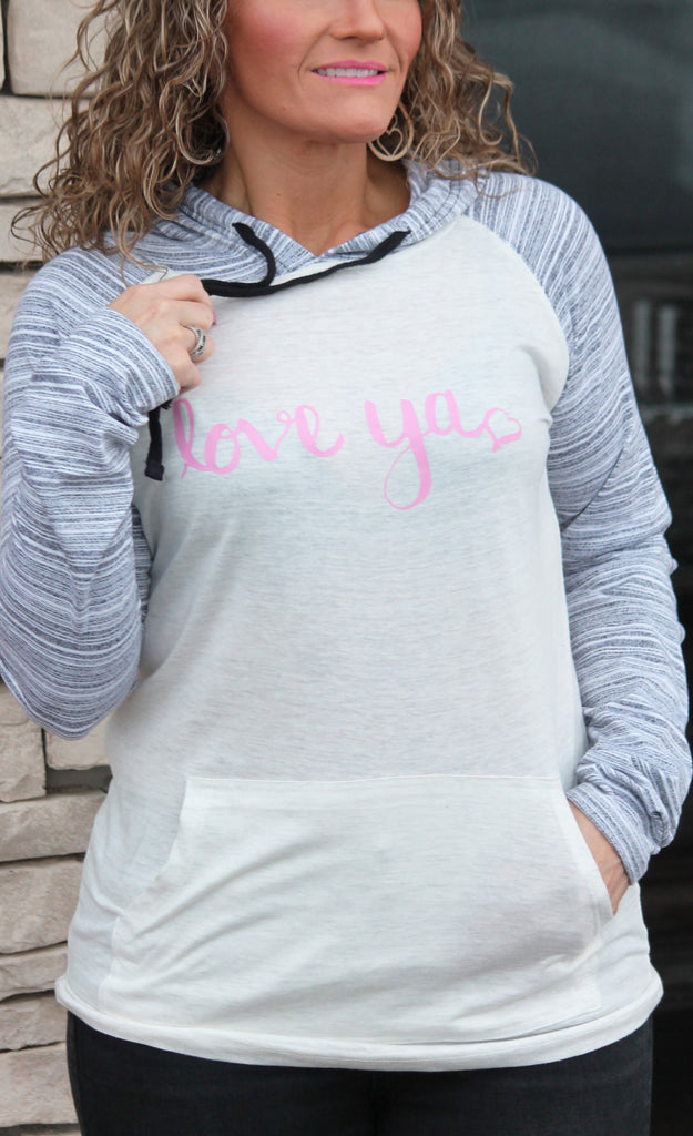Love Ya Long Sleeve Hooded Graphic Tee For Women