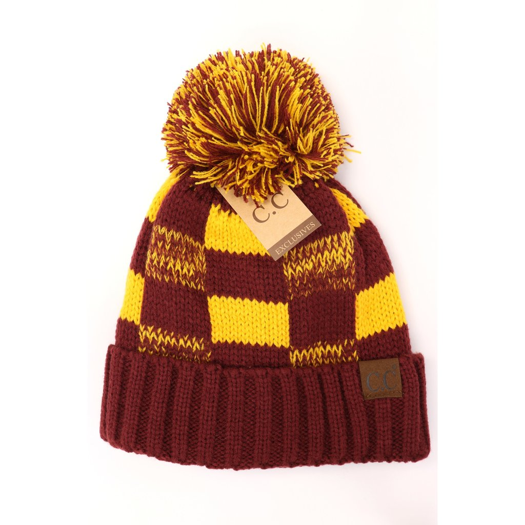 C.C. Maroon & Gold Pom Beanie For Adults
