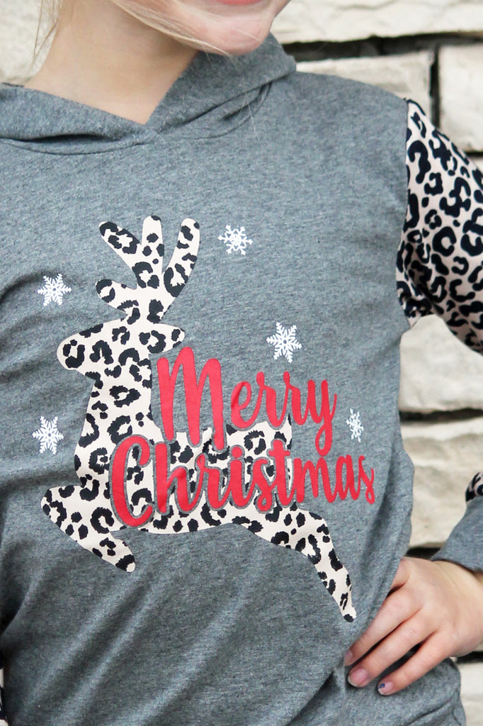 Merry Christmas Reindeer Hoodie For Girls