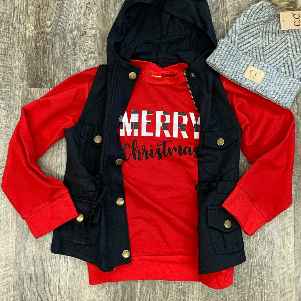 Merry Christmas Long Sleeve Graphic Top For Kids