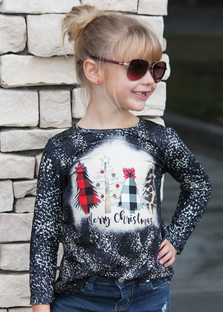 Merry Christmas Tie Dye Top For Girls