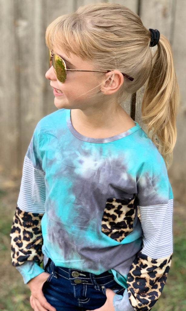 Mint Tie Dye Animal Print Top For Girls