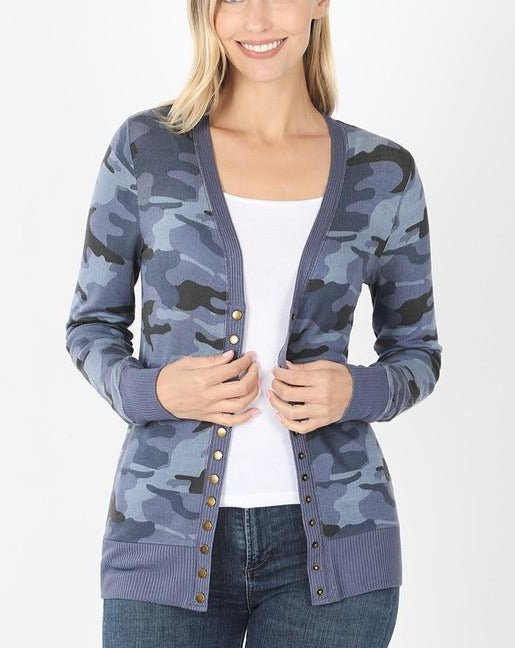 Navy Camouflage Snap Cardigan For Women