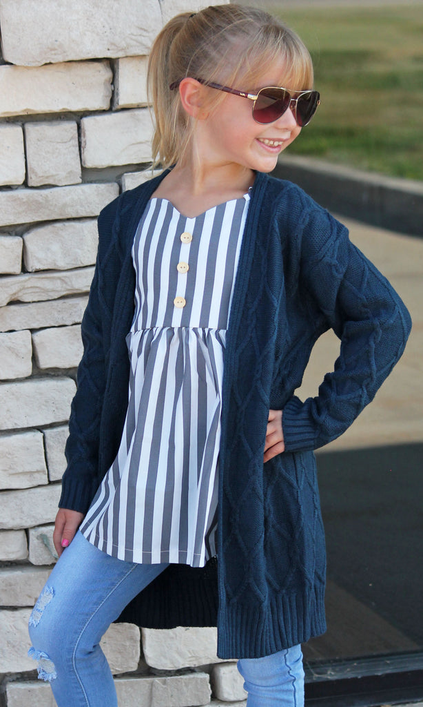 Navy Chunky Knit Cardigan For Girls