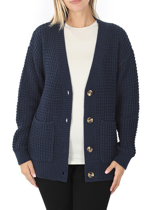 Navy Chunky Waffle Cardigan For Women