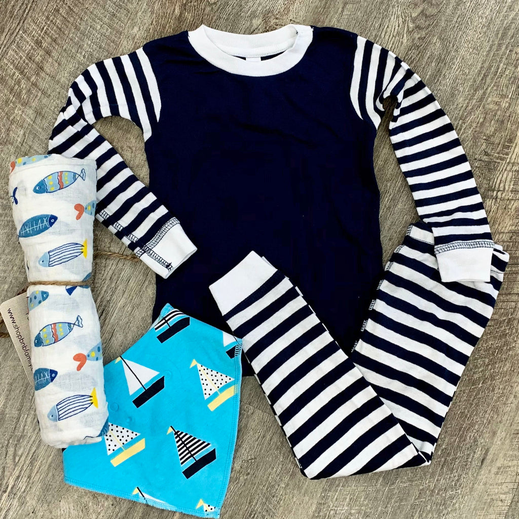 Navy Stripe 2pc Sleeper Set For Baby