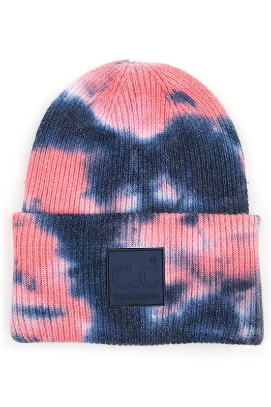 Navy & Pink Tie Dye Beanie For Adults