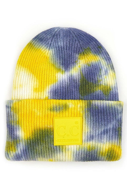Navy & Yellow Tie Dye Beanie For Adults
