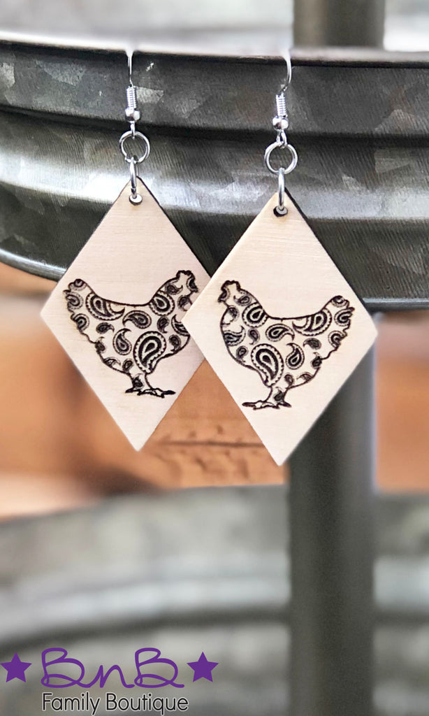 Paisley Chicken - Wood Earrings