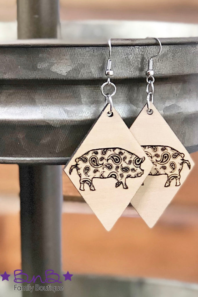 Paisley Pig - Wood Earrings