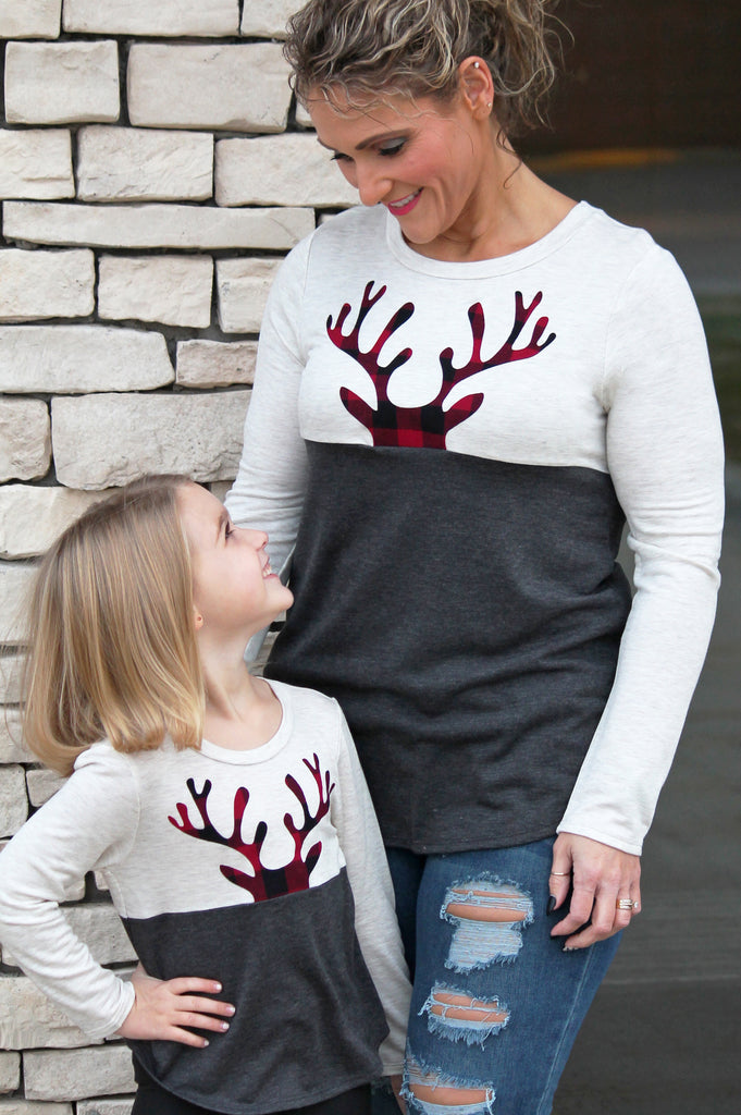 Peeking Plaid Reindeer Top For Girls