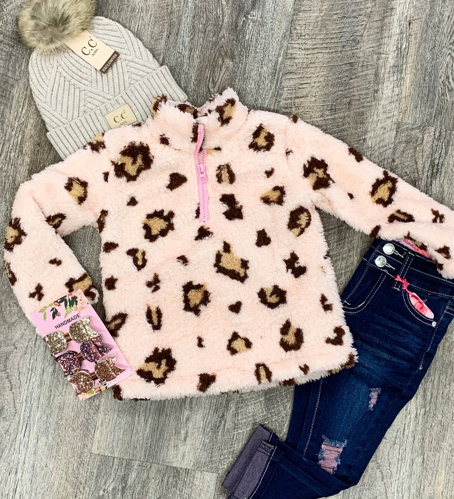 Pink Animal Print Sherpa Pullover For Girls