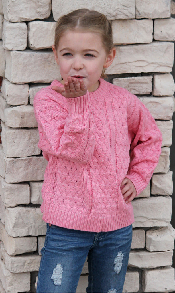 Pink Cable Knit Sweater - Girls
