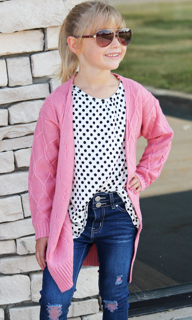Pink Chunky Knit Cardigan For Girls