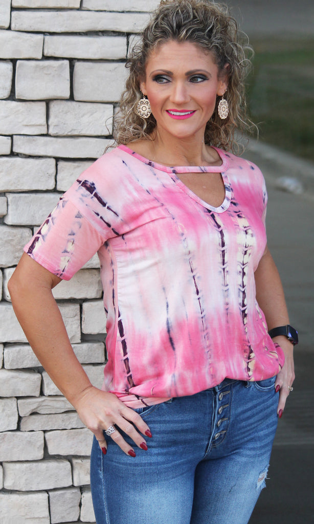 Pink Coral Keyhole Top For Women