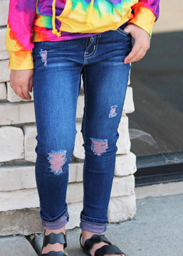 Pink Distressed Denim Jeans For Girls