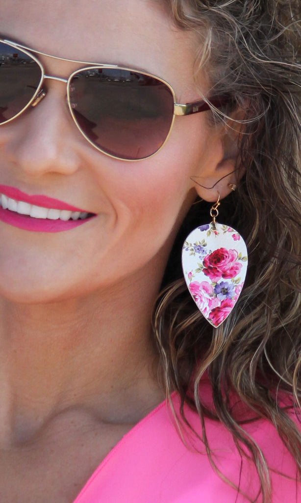 Pink Floral Teardrop Leatherette Earrings