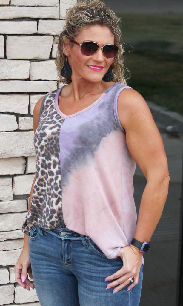 Pink & Purple Tie Dye Animal Print Tank Top For Women