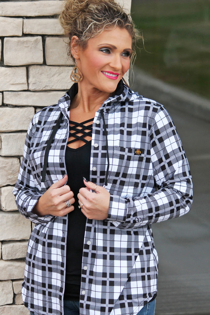 ISU Plaid Button-Up Hoodie