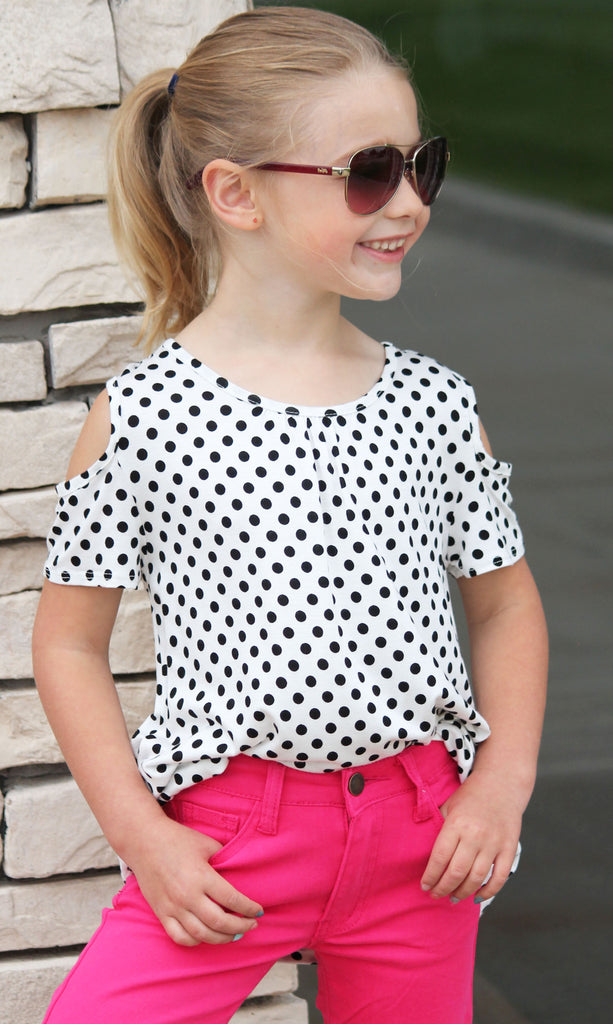 Polka Dot Cold Shoulder Top For Girls