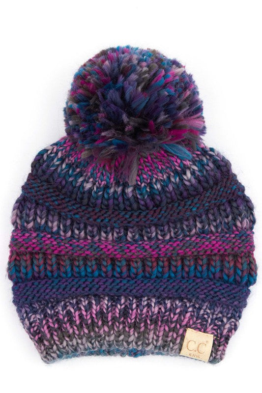 C.C. Purple Multi Color Pom Beanie For Kids