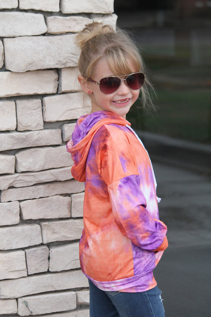 Purple Swirl Tie Dye Hoodie For Girls