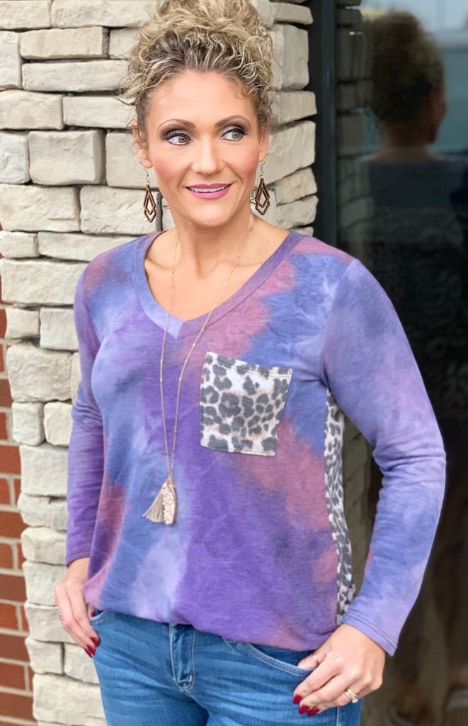 Purple Tie Dye Mix Top For Women