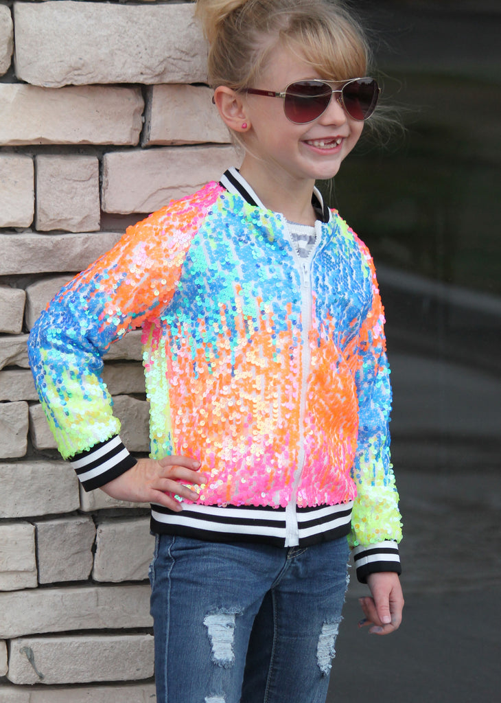 Rainbow Sequin Jacket For Girls