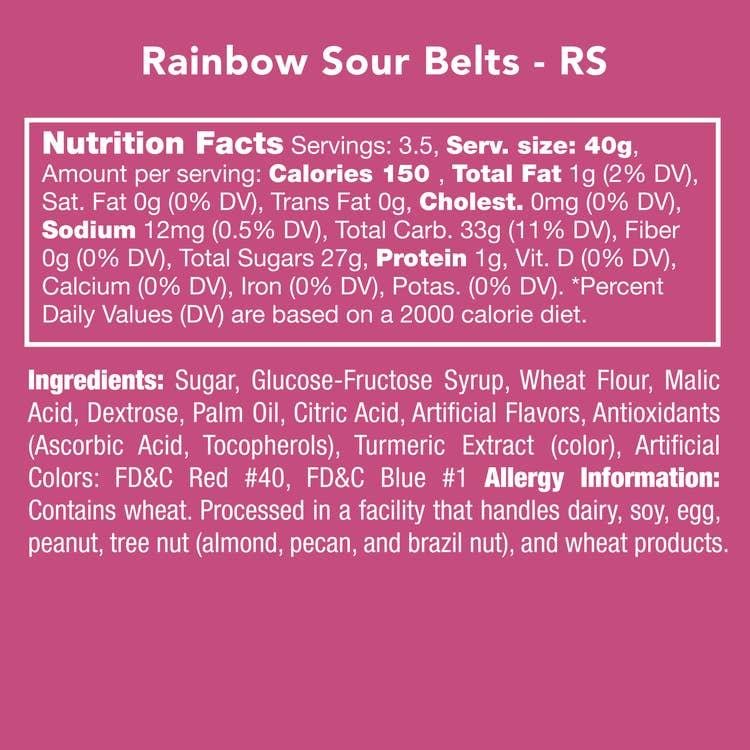 Rainbow Sour Belts - Candy Club Candy Bites
