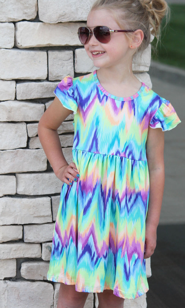 Rainbow Tie Dye Dress For Girls