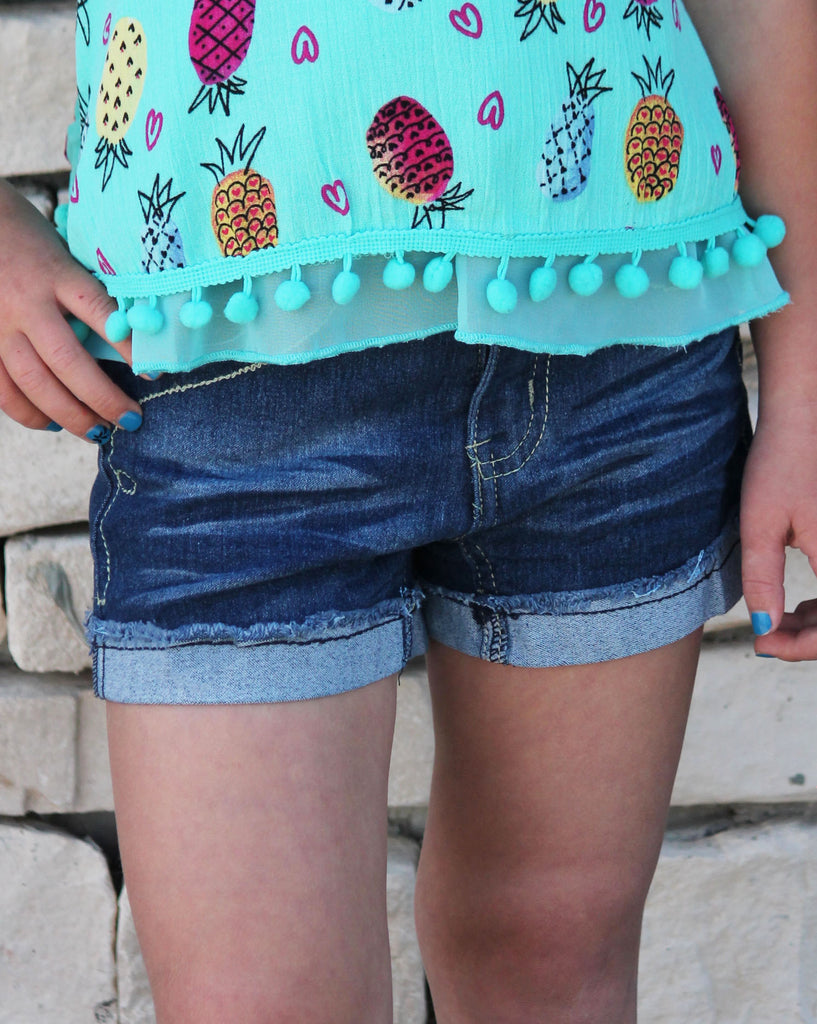 Raw Edge Cuffed Denim Shorts For Girls