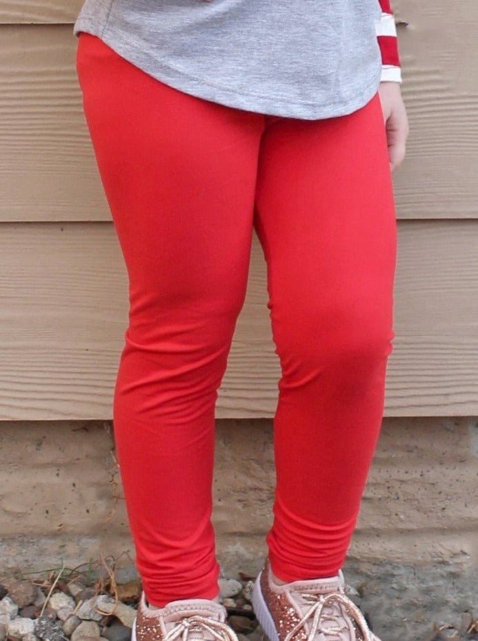 Red Leggings For Girls