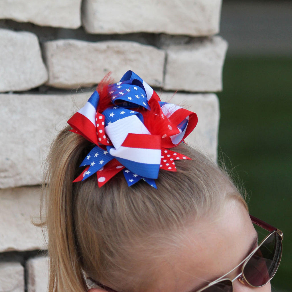 Red, White & Blue Stacked Bow For Girls
