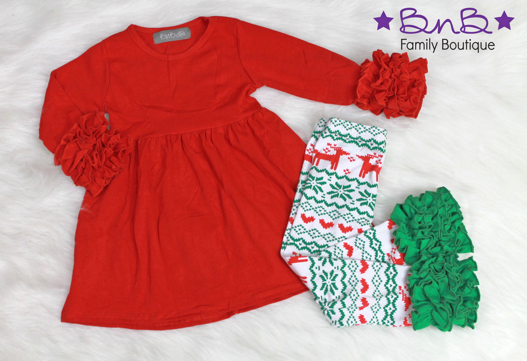 Reindeer Love Ruffle Leggings