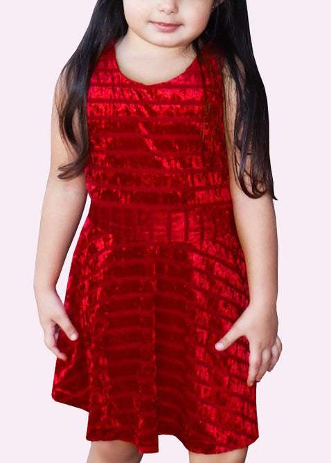 Girls Red Velvet Dress
