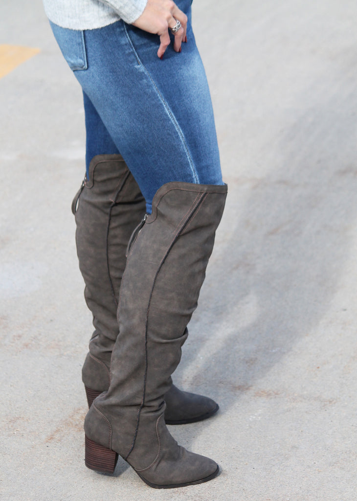 Taupe Southern Belle Knee High Boots For Women