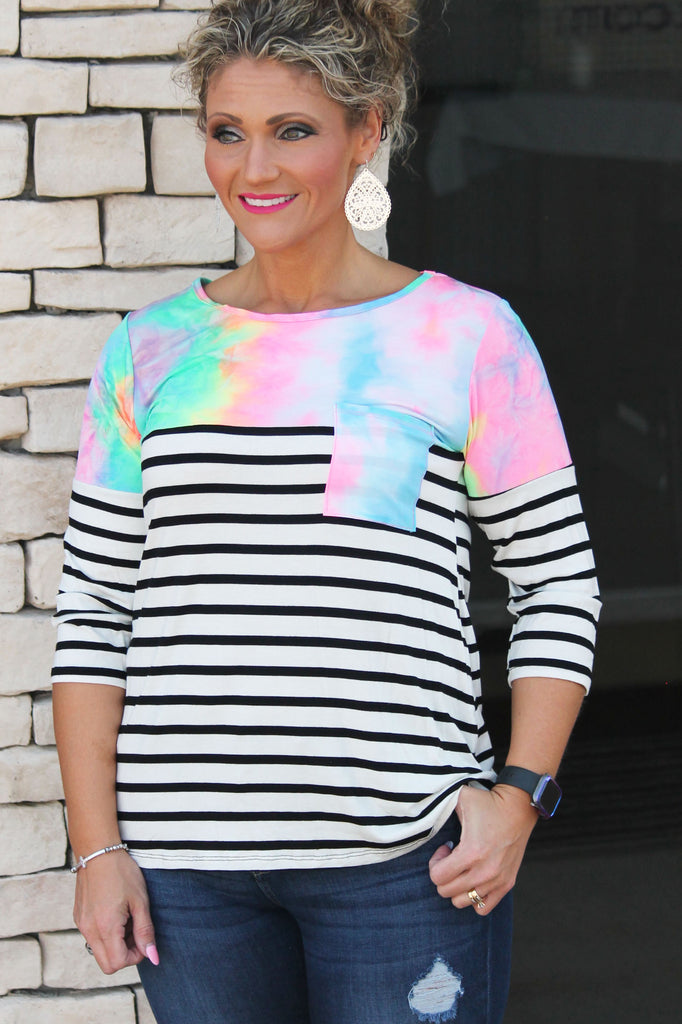 Tie Dye Stripe Top For Women
