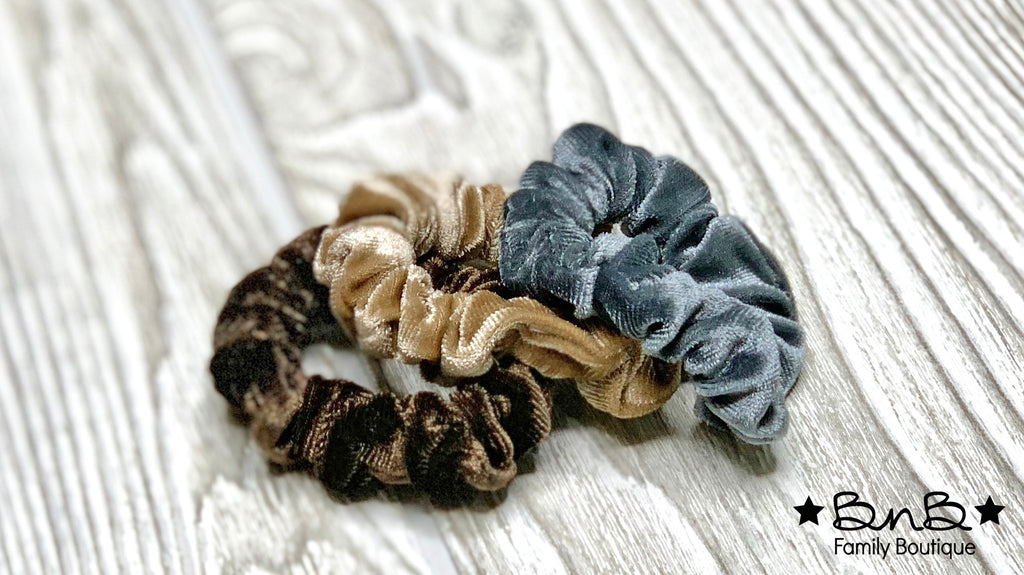 Velvet: Brown, Tan, Gray - 3pk Hair Scrunchies