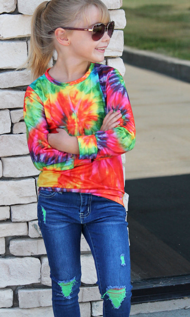 Vibrant Tie Dye Top For Girls