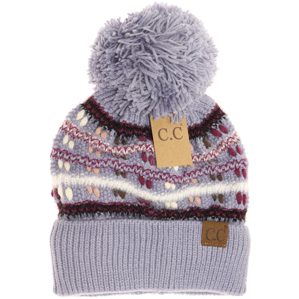 C.C. Vintage Denim Knit Pom Beanie For Women