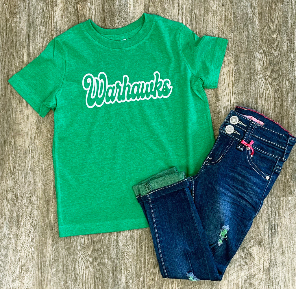 Warhawks Vintage Green Graphic Tee For Kids