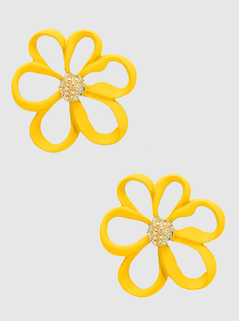 Yellow Floral Stud Earrings