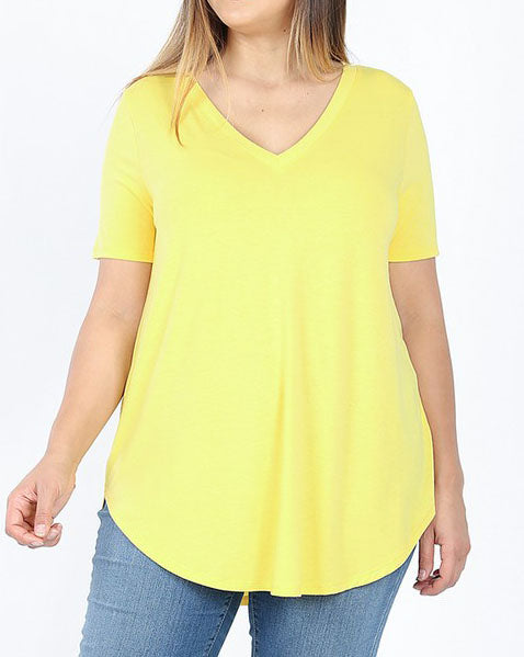 Yellow Essential V-Neck Top - Women