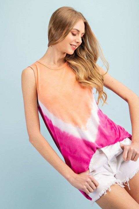 Fuchsia Multi Tie Dye Tank Top For Women